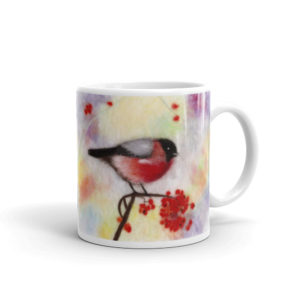 "Unique Ceramic Coffee Mug ""Colorful Bullfinch"", Bird Mug"