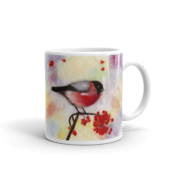 "Unique Ceramic Coffee Mug ""Colorful Bullfinch"", Bird Mug"