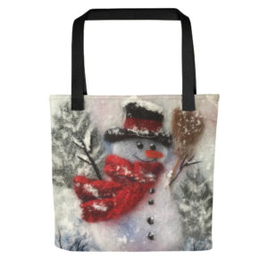 "Christmas Tote Bag ""Snowman With A Broom"", Reusable Grocery Shopping Tote Bag, Fabric Shoulder Bag"