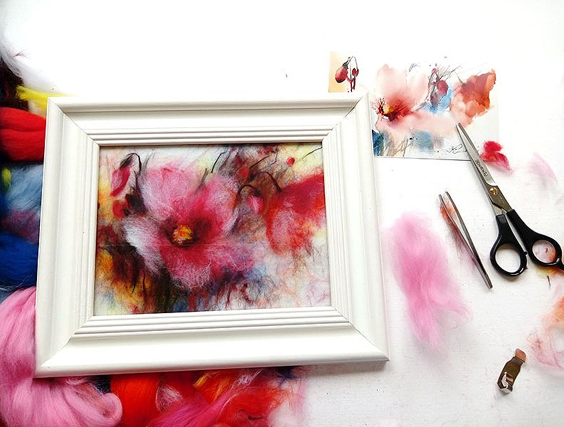 Materials and tools for creating wool paintings