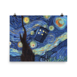 Doctor Who Tardis Starry Night Van Gogh Art Print