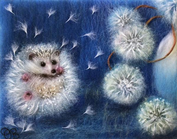 Original wool painting Hedgelion by Oksana Ball, Animal painting, Floral painting, Hedgehog, Dandelions, Wildlife painting with wool, Fiber wall art decor