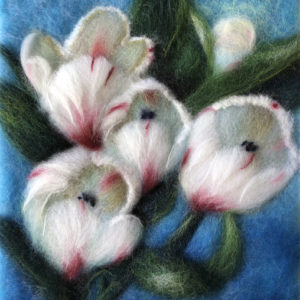 Original wool painting White tulips by Oksana Ball, Floral painting, Nature painting with wool, Fiber wall art decor