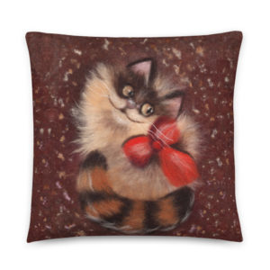 "Animal Print Decorative Throw Pillow ""Ginger Cat"", Cat Accent Pillow For Couch, Sofa, Chair, Bed"
