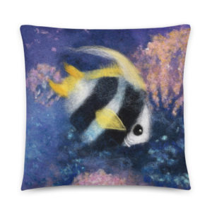 "Nautical Decorative Throw Pillow ""Fish Under The Sea"", Fish Accent Pillow For Couch, Sofa, Chair, Bed"