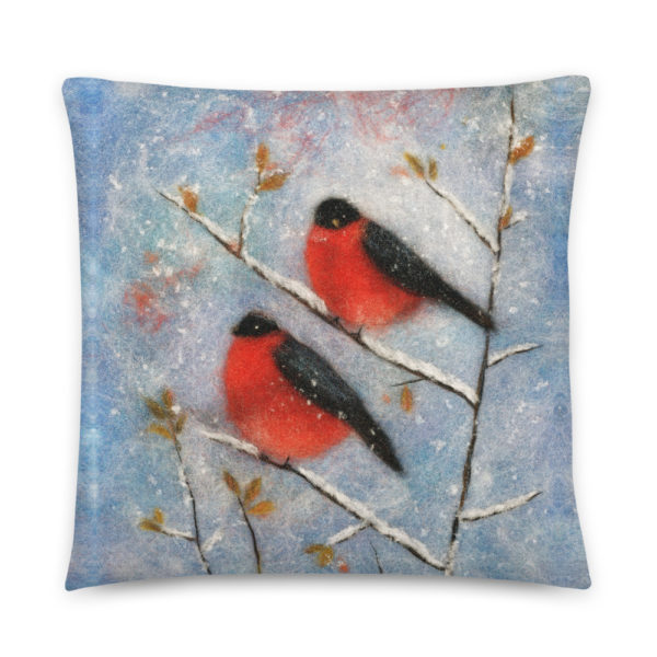 "Decorative Throw Pillow ""Two Bullfinches"", Bird Print Accent Pillow For Couch, Sofa, Chair, Bed"