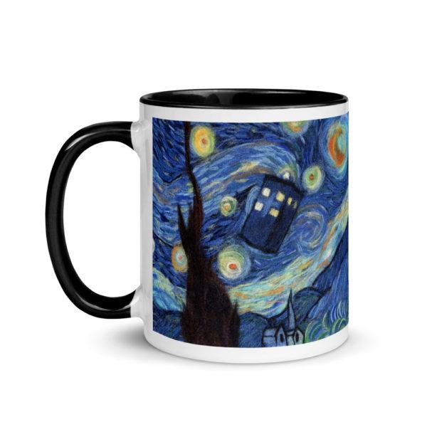 "Ceramic Coffee Mug With Color Inside ""Starry Night"", Doctor Who Mug, Tardis Mug, Unique Coffee Mug"