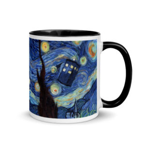 "Ceramic Coffee Mug With Color Inside ""Starry Night"", Doctor Who Mug, Tardis Mug, Unique Coffee Mug"