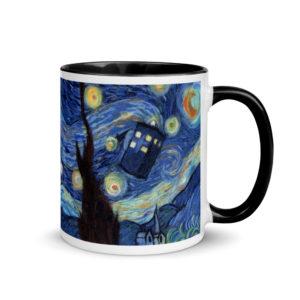 "Ceramic Coffee Mug With Color Inside ""Starry Night"", Van Gogh Mug, Tardis Mug, Doctor Who Mug"