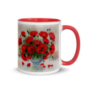 "Ceramic Coffee Mug With Color Inside ""Bouquet Of Poppies"", Flower Mug, Floral Mug, Unique Coffee Mug"