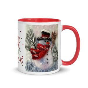 """Ceramic Coffee Mug With Color Inside """"Snowman With A Broom"""", Snowman Mug, Christmas Mug"""