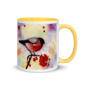 "Ceramic Coffee Mug With Color Inside ""Colorful Bullfinch"", Bird Mug, Red Bullfinch Tea Mug"