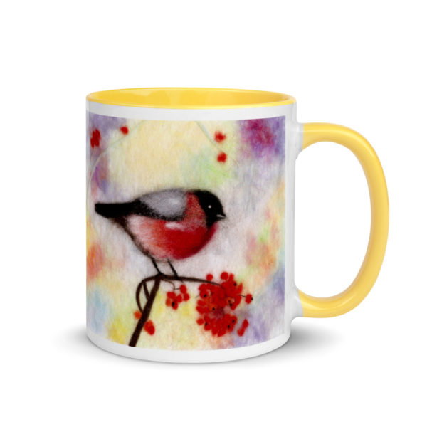 "Ceramic Coffee Mug With Color Inside ""Colorful Bullfinch"", Bird Mug, Unique Coffee Mug"