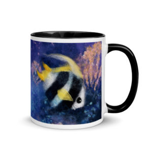 "Ceramic Coffee Mug With Color Inside ""Fish Under The Sea"", Fish Mug, Unique Coffee Mug"