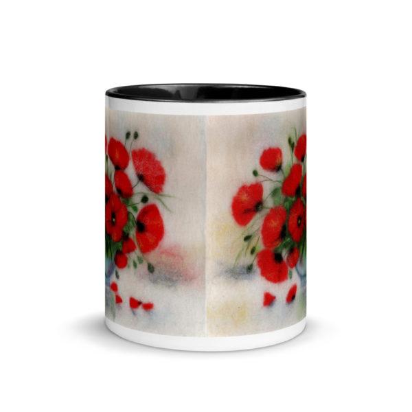 """Ceramic Coffee Mug With Color Inside """"Bouquet Of Poppies"""", Flower Mug, Floral Mug, Unique Coffee Mug"""