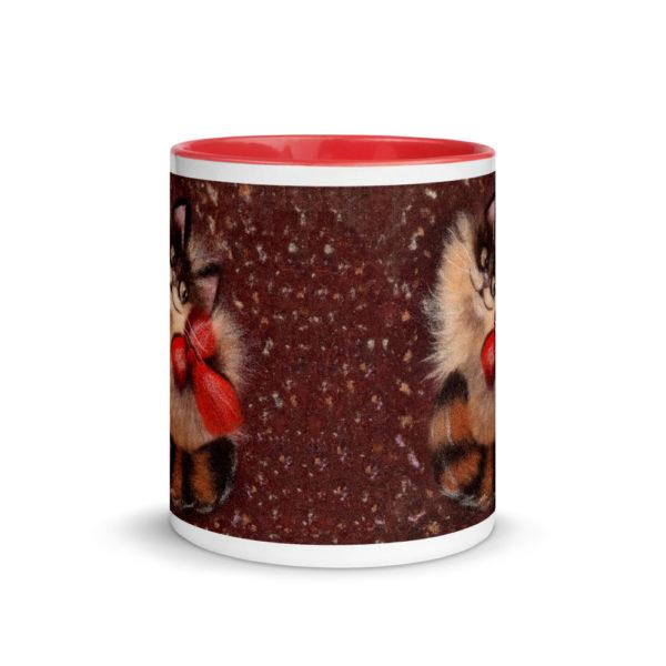 """Ceramic Coffee Mug With Color Inside """"Ginger Cat"""", Animal Mug, Cat Mug, Unique Coffee Mug"""