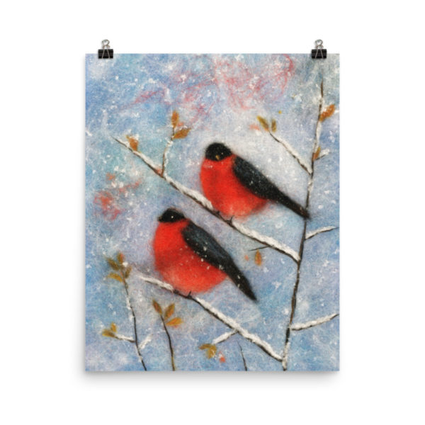 "Bird Print Wall Art Decor ""Two Bullfinches"" Unique Gift For Bird Lovers"