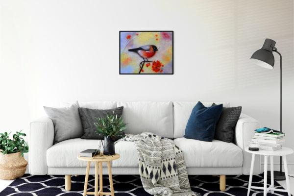 "Bird Print Wall Art Decor ""Colorful Bullfinch"" Unique Gift For Bird Lovers"