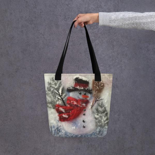 "Christmas Tote Bag ""Snowman With A Broom"", Reusable Grocery Shopping Tote Bag, Fabric Shoulder Bag"