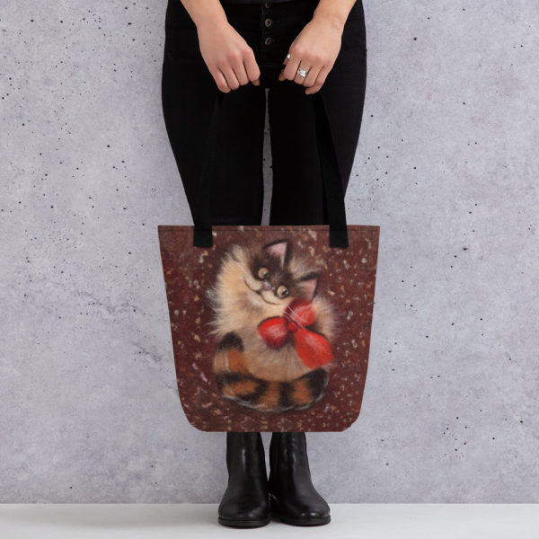 Reusable Grocery Shopping Tote Bag Fabric Foldable - Ginger Cat