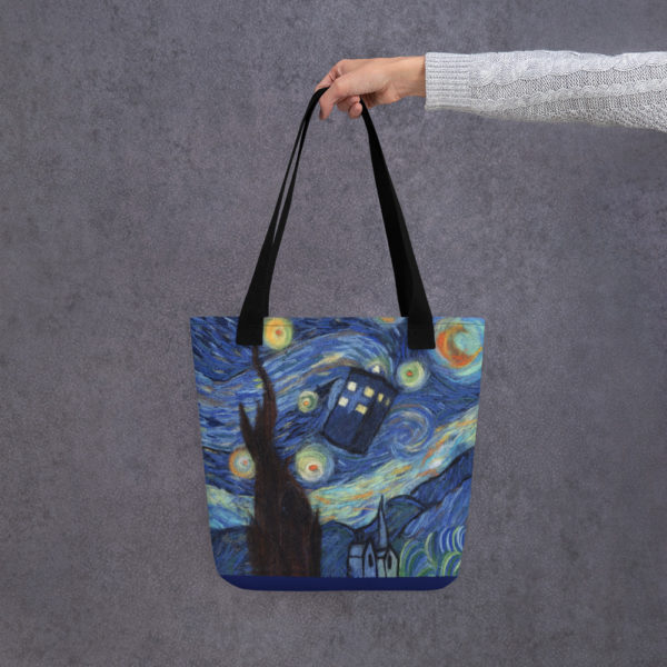"Doctor Who Tardis Tote Bag ""Starry Night"", Reusable Grocery Shopping Tote Bag, Fabric Shoulder Bag"