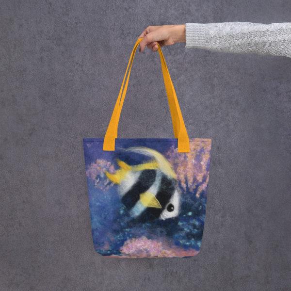 "Fish Tote Bag ""Fish Under The Sea"", Reusable Grocery Shopping Tote Bag, Fabric Shoulder Bag"