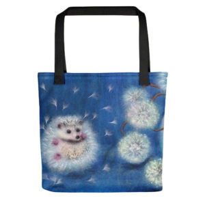 "Animal Print Tote Bag ""Hedgelion"", Reusable Grocery Shopping Tote Bag, Fabric Shoulder Bag"