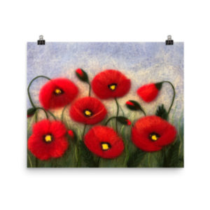 "Flower Art Print ""Field Of Poppies"" Floral Wall Art Decor"