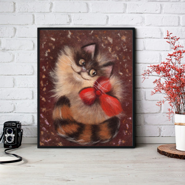 "Animal Wall Art Print ""Ginger Cat"" Unique Cat Lover Gift"