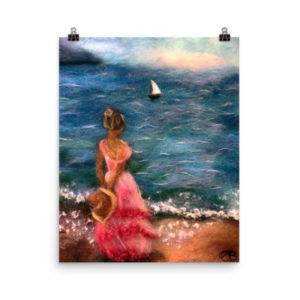 """Beach Wall Art Print """"Girl By The Sea"""" Ocean Wall Art Decor"""