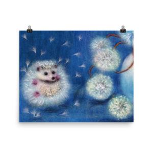 Animal Poster Dandelion Flowers Nursery Wall Art Print
