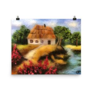 "Landscape Wall Art Print ""House Near The River"" Nature Wall Art Decor"