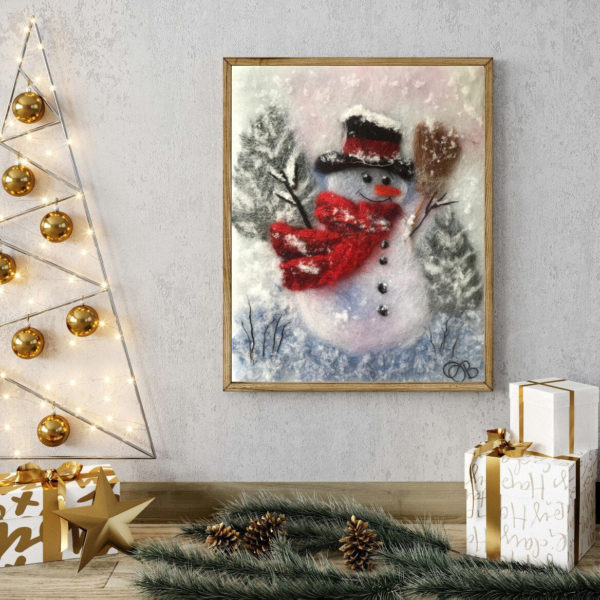 "Christmas Wall Art Print ""Snowman With A Broom"""