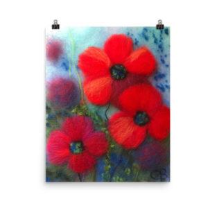 "Flower Art Print ""Poppies In Blue"" Floral Wall Art Decor"