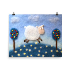 "Animal Nursery Wall Art Print ""Sheep In The Meadow"""