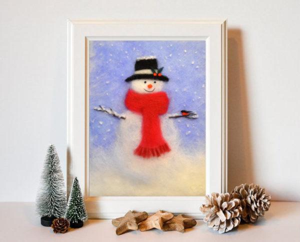"Christmas Wall Art Print ""Snowman"""