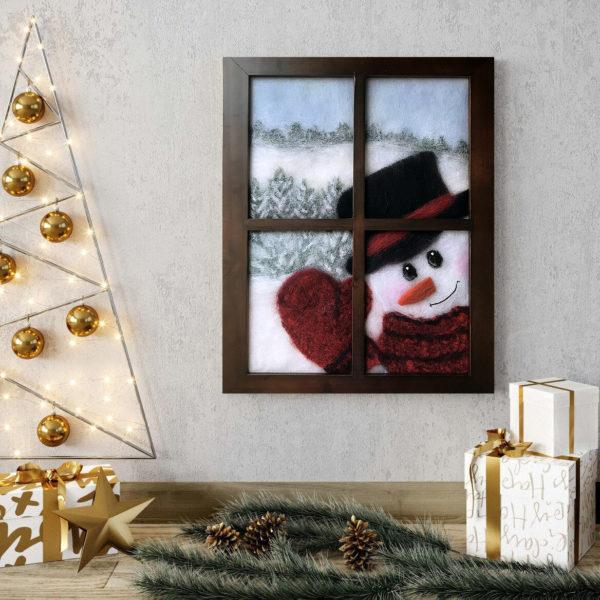 "Christmas Wall Art Print ""Snowman Looking In Window"""