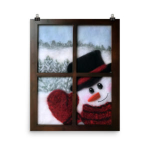 "Christmas Wall Art Print ""Snowman Looking In Window"""