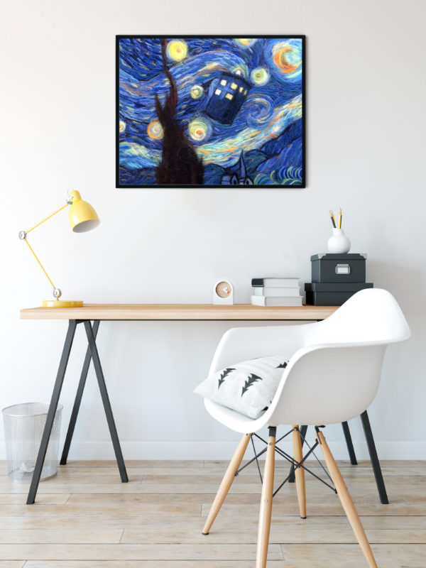 Doctor Who Tardis Starry Night Van Gogh Art Print
