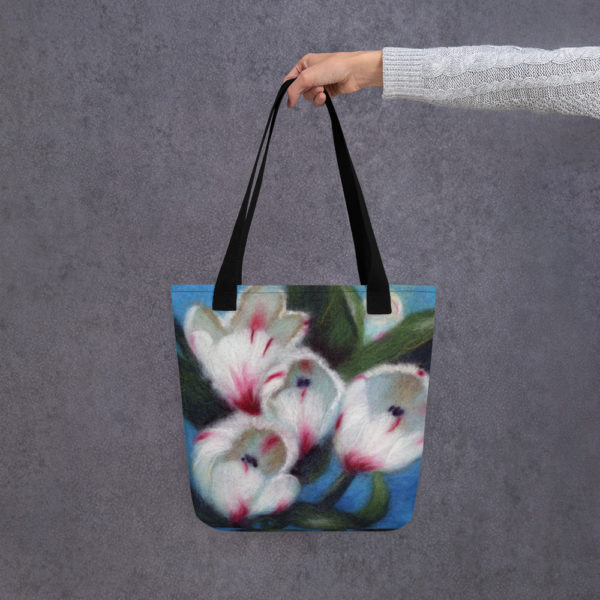 "Floral Tote Bag ""White Tulips"", Reusable Grocery Shopping Tote Bag, Fabric Shoulder Bag"