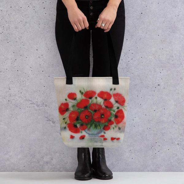 """Floral Tote Bag """"Bouquet Of Poppies"""", Reusable Grocery Shopping Tote Bag, Fabric Shoulder Bag"""