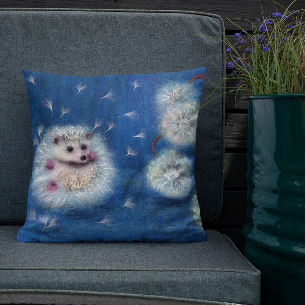 """Animal Print Decorative Throw Pillow """"Hedgelion"""", Floral Accent Pillow For Couch, Sofa, Chair, Bed"""