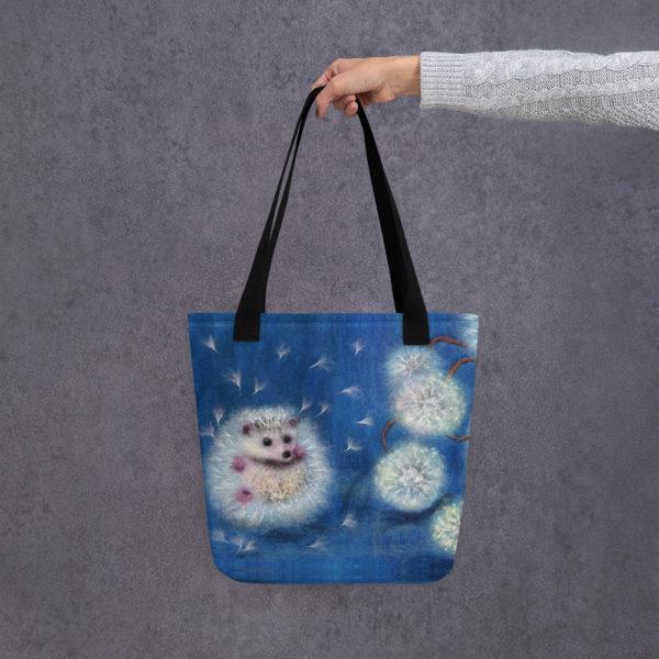 "Animal Print Tote Bag ""Hedgelion"", Reusable Grocery Shopping Tote Bag, Fabric Shoulder Bag"