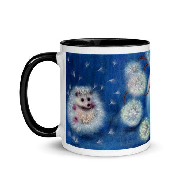 """Ceramic Coffee Mug With Color Inside """"Hedgelion"""", Animal Mug, Flower Mug, Unique Coffee Mug"""