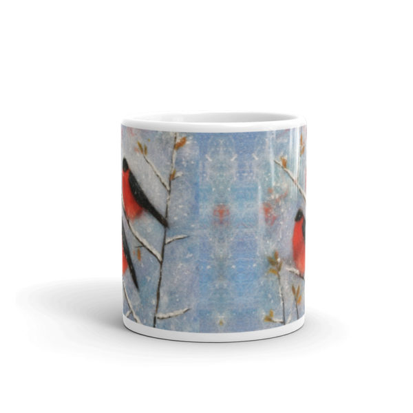 "Unique Ceramic Coffee Mug ""Two Bullfinches"", Bird Mug"