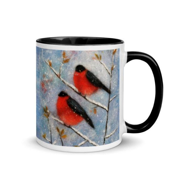 "Ceramic Coffee Mug With Color Inside ""Two Bullfinches"", Bird Mug, Unique Coffee Mug"