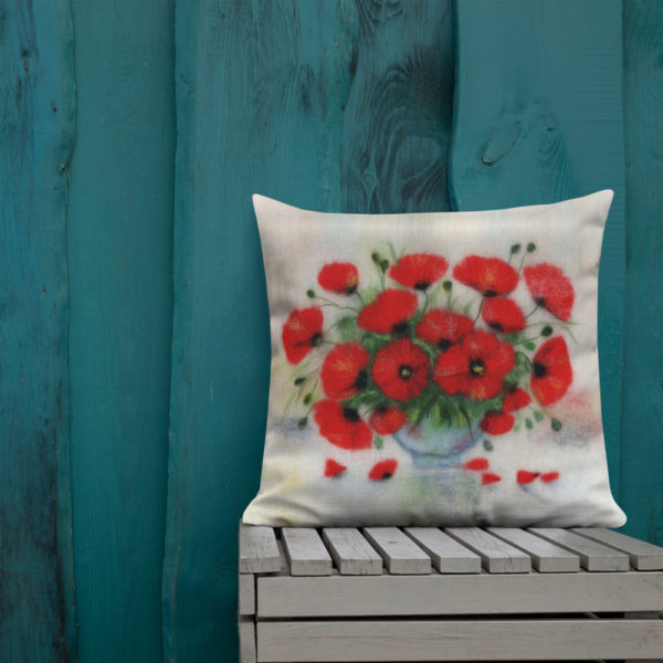 "Floral Decorative Throw Pillow ""Bouquet Of poppies"", Flower Accent Pillow For Couch, Sofa, Chair, Bed"