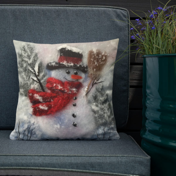 "Snowman Throw Pillow ""Snowman With A Broom"", Christmas Holiday Decorative Pillow For Couch, Sofa, Chair, Bed"