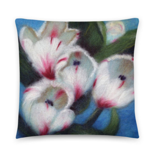 """Floral Decorative Throw Pillow """"White Tulips"""", Flower Accent Pillow For Couch, Sofa, Chair, Bed"""