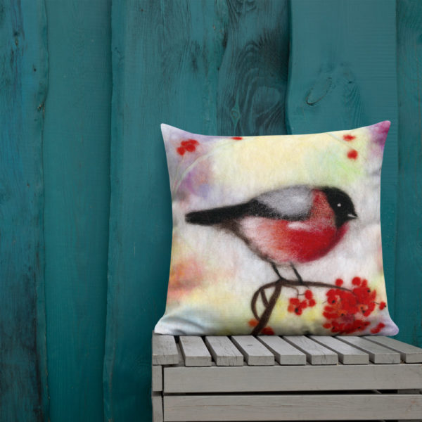 "Decorative Throw Pillow ""Colorful Bullfinch"", Bird Print Accent Pillow For Couch, Sofa, Chair, Bed"